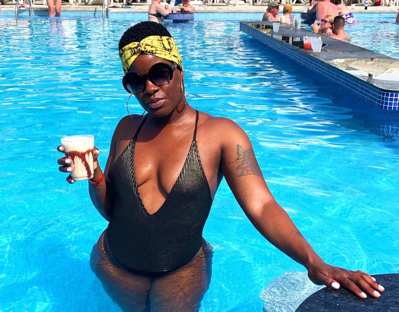 Black & Gold Deep V Swimsuit