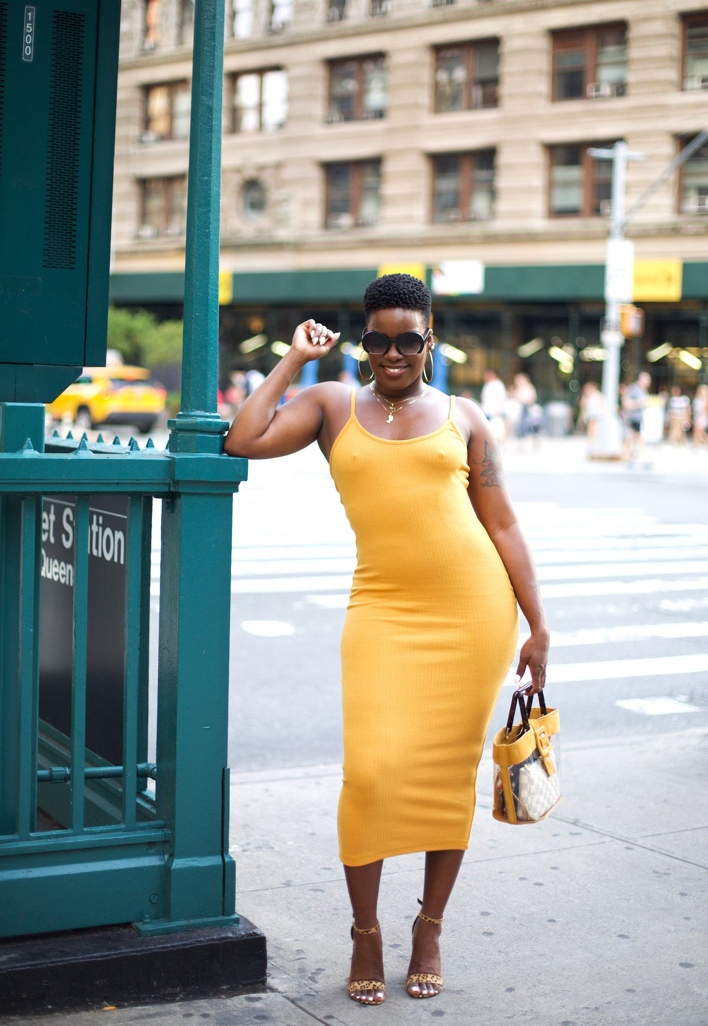 Mustard Midi Dress With Transparent Bag Outfit
