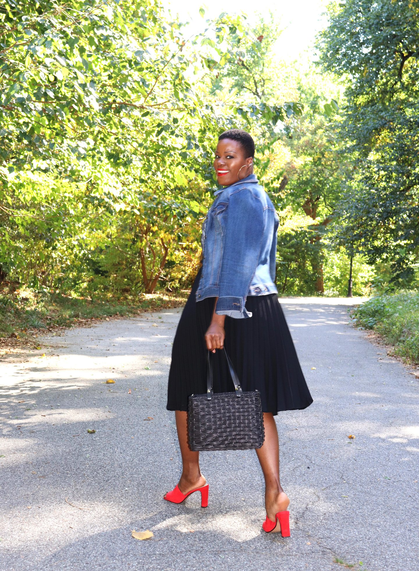 Mules With Pleated Skirt & Denim Jacket Outfit