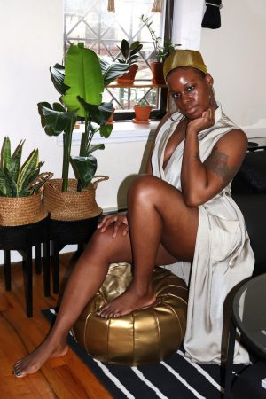 Satin Wrap Dress With Gold Headwrap Outfit