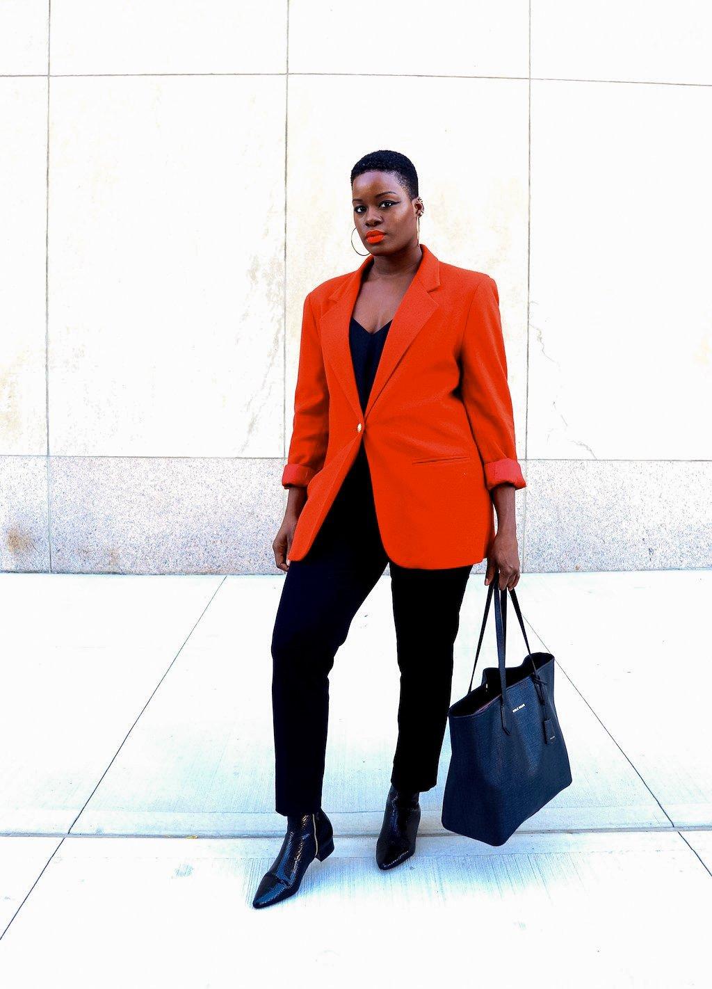 Burnt Orange Vintage Wool Blazer Outfit