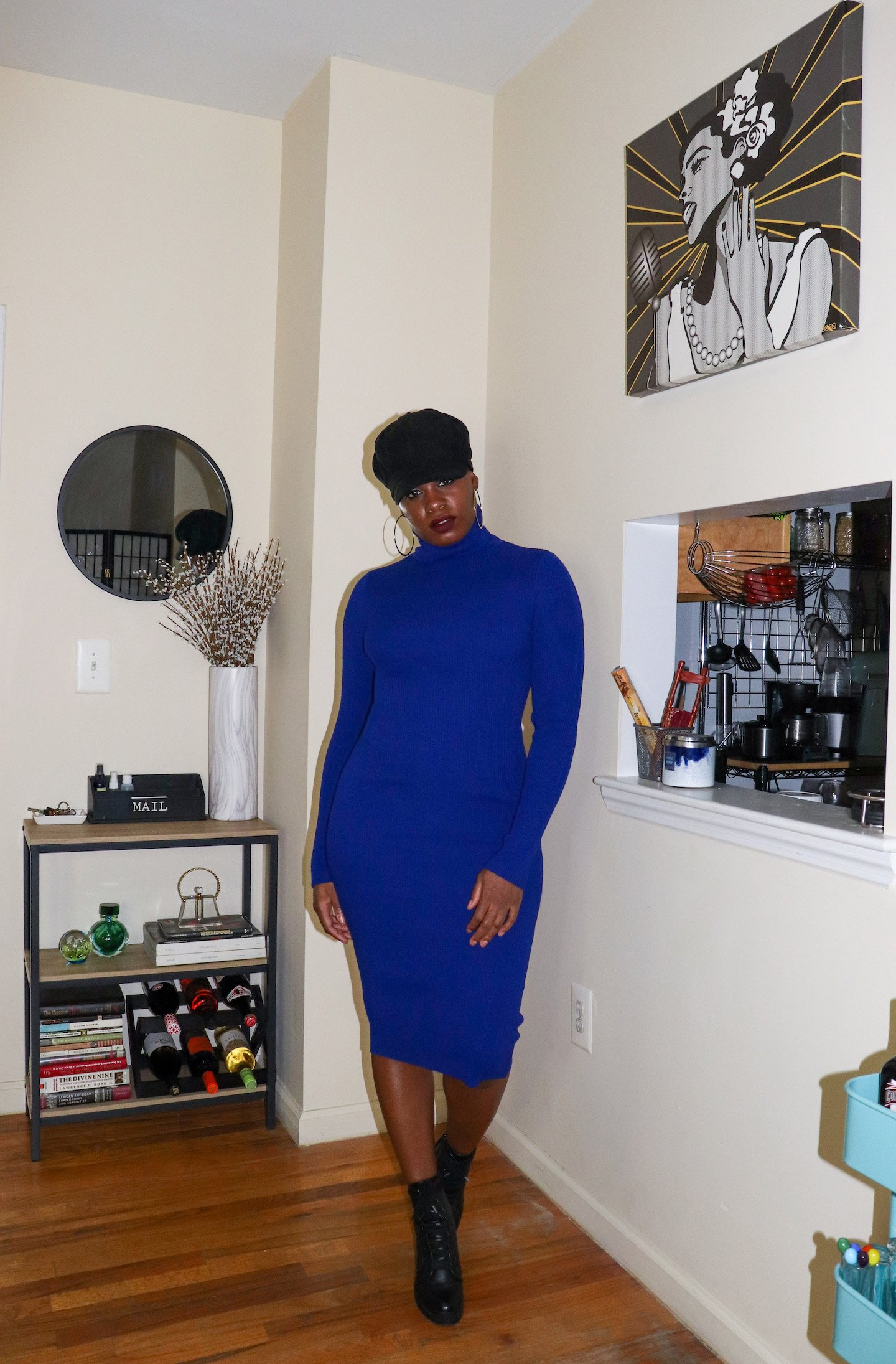 Royal Blue Sweater Dress Outfit