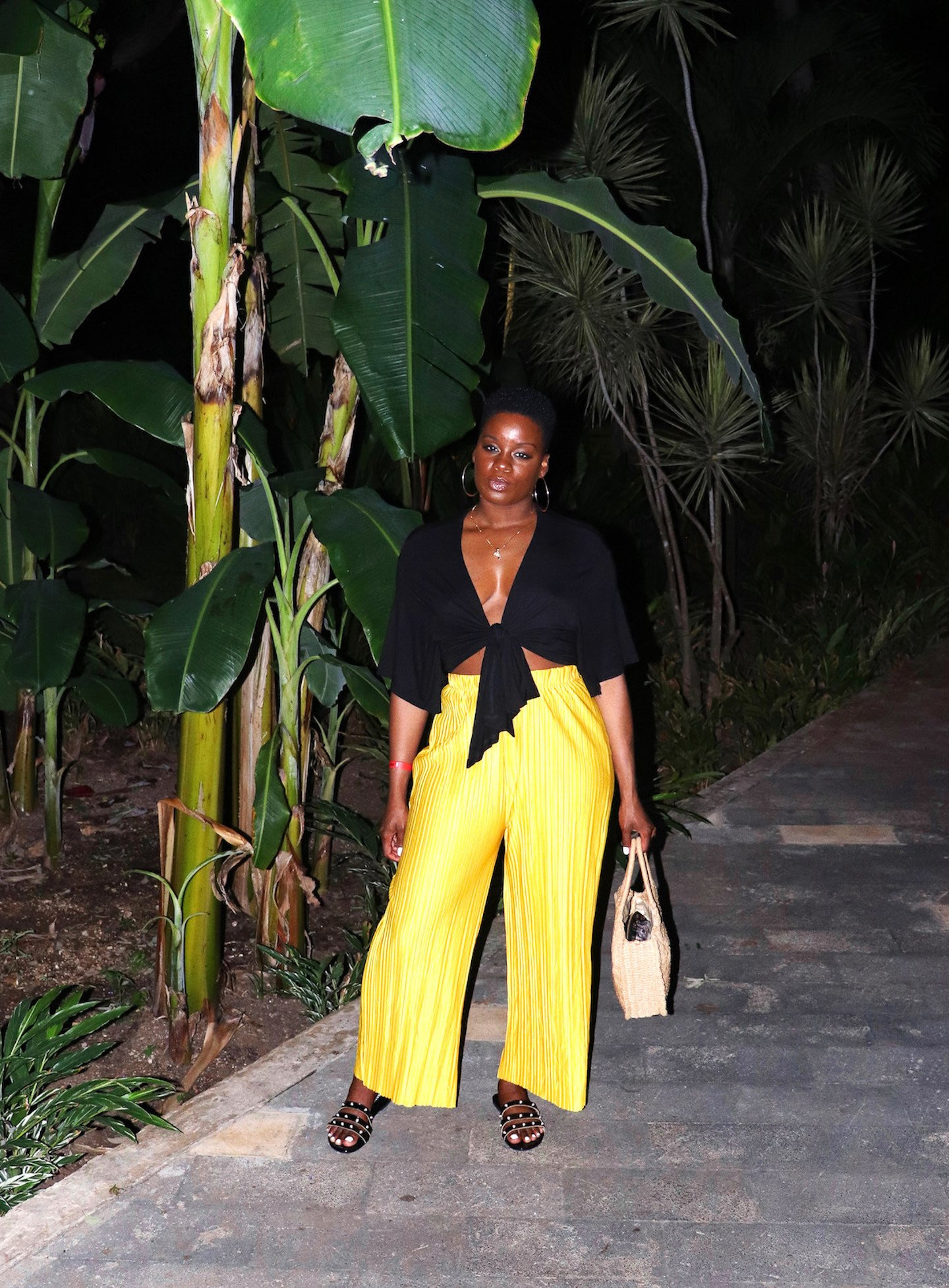 Yellow Pleated Pants Vacation Outfit