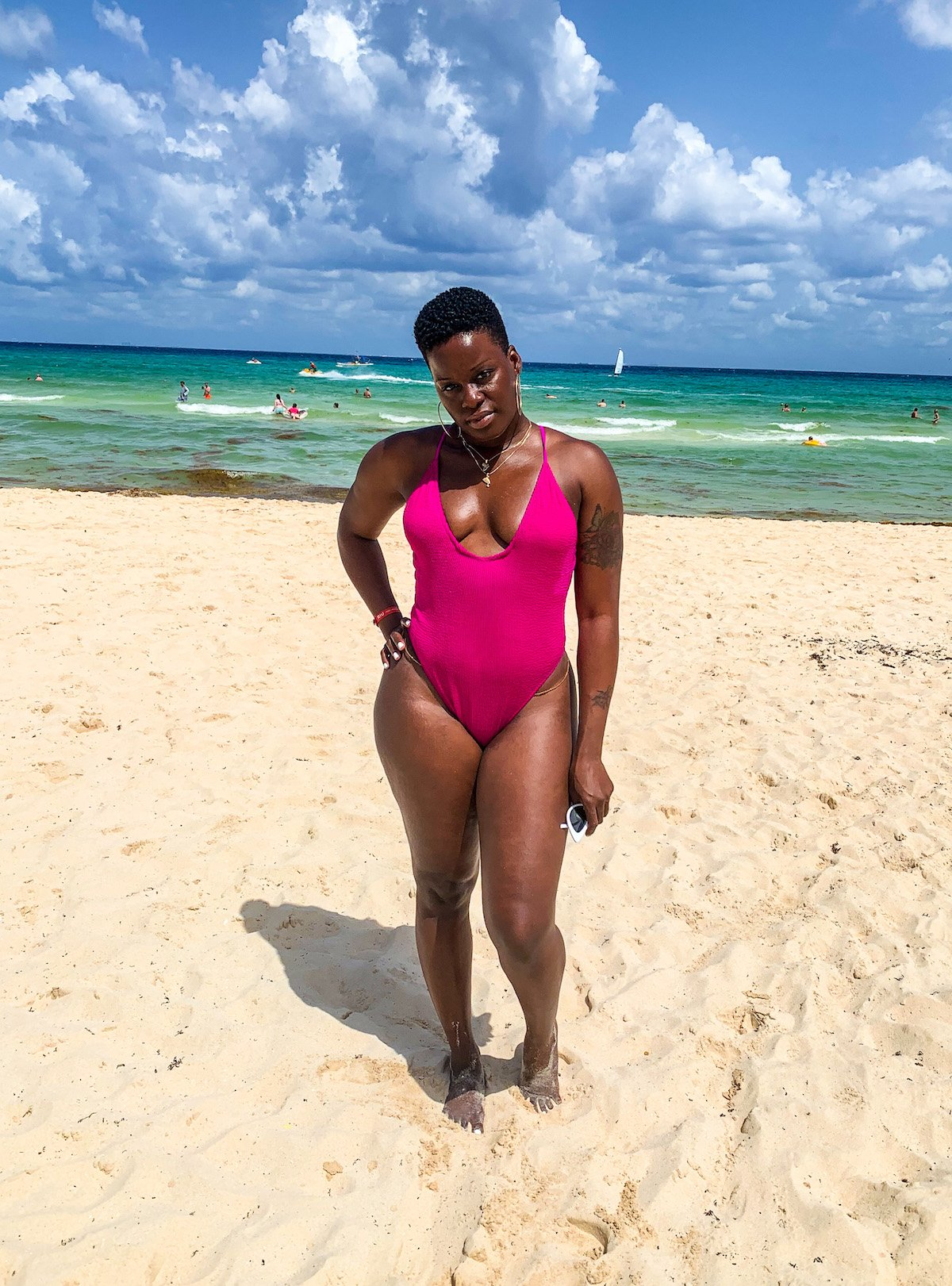 Summer 2021 Swimsuits Hot Pink Scrunched